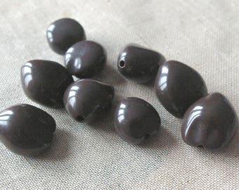 Set of large Brown imitation acrylic Pearl seed
