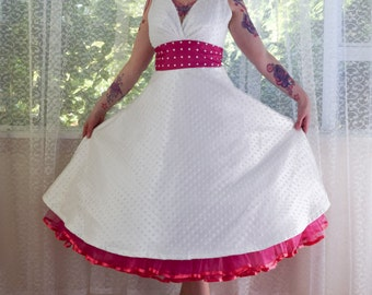 """1950's Rockabilly """"Fenella"""" Wedding Dress with Polka Dot Waistband and Matching Petticoat - Custom Made to Fit - Any Colour"""