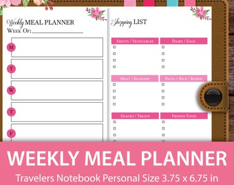 Weekly Meal Planner, Grocery List, Pantry Inventory, Personal Size, Travelers Notebook Inserts, Midori Inserts, Midori Planner