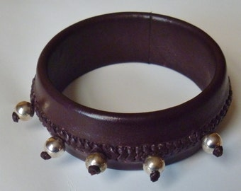 Handmade geniune leather braided bracelet, metal beads