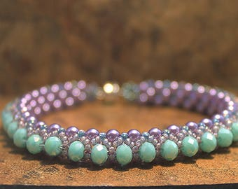 Crystal Tennis Bracelet in Turquoise and Purple