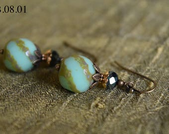 Mint Green Czech Glass Bead with Tan Accent and Brass Findings
