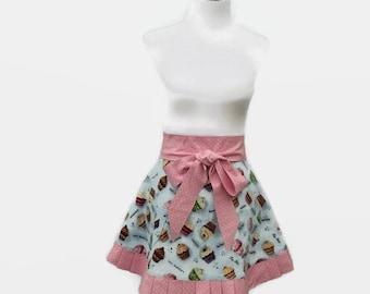 Womens Cupcake Apron, Half Cupcake Apron, Cute Half Apron, Girly Half Apron, Ruffled Half Cupcake Apron, Retro Cupcake Apron with Ruffles