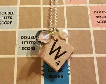 Scrabble tile W necklace