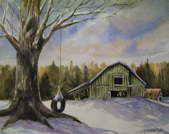 Runddown Barn, 16x20 Original Watercolor Painting,One of a Kind,Not a Print