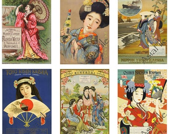 "ACEO Size, Vintage Asian Women, ATC Cards, 2.5"" X 3.5"",  12 Different Digital Printable Images, Instant Downloads ACEO 40"