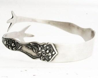 Cherry Blossom Bracelet, Sterling Silver Spoon Bracelet, Claw Feet, Adjustable Bangle Bracelet, Sugar Tong, Adjustable Size 5 6 7 8 (6324)