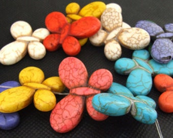 gemstones 35mm mixcolor butterfly  turquoise beads Stone 5beads