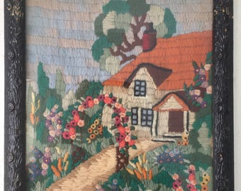"""vintage medium-sized crewel house and garden with wood metal """"log"""" frame"""