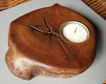 Candle/Tea light Holder Hand Crafted from Wych Elm