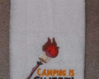 Embroidered ~CAMPING Is SWEET~ Kitchen Hand Towel
