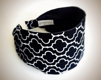 Wide Headbands for women Adult headband woman moroccan print womens headband Black white headband quatrefoil  cotton fabric headband