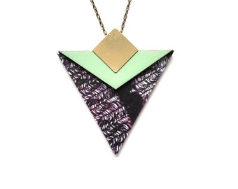 Statement Geometric Necklace - Triangle Pendant - Large Necklace - Monochrome Jewellery - Geometric Jewellery - Triangle Jewellery - Graphic