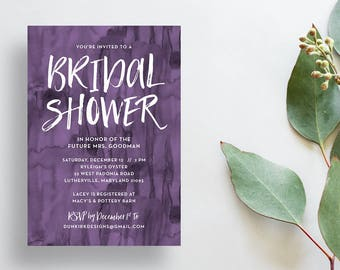 Bold Watercolor Shower Invites / Eggplant Purple / Hand Lettering / Semi-Custom Party Bridal Shower Invites / Print-at-Home Invitations