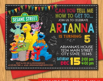 Sesame Street Birthday Invitation- Sesame Street Birthday Party- Elmo Invitations - Cookie Monster Invitation - Sesame Street Invitation