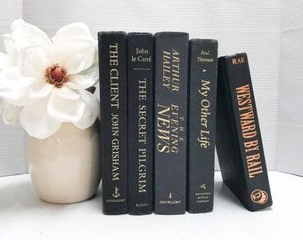 Black Decorative Books, Shelf Decor, Modern Decor