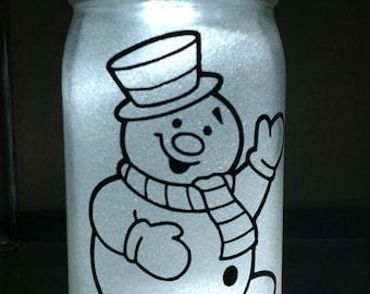 Glittered, illuminated Frosty - Mason Jar