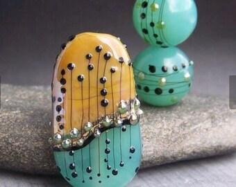 "MruMru Handmade Lampwork Glass Bead Earring Pair plus Focal TRIO ""Posh SKY BLUE"" Sra."