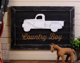 Truck Nursery Art Wooden Wall Art Country Boy Nursery Wall Art Framed Old Pickup Fram Truck Art Big Boy Room Decor Truck Pallet Art