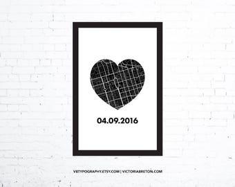 "Heart Map - 11"" x 17"" typography print, custom anniversary gift, gift for her, gift for him, custom map print, pregnancy, first kiss"