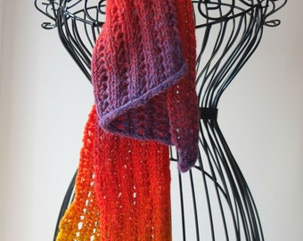 Handknitted Scarf, bright multicolours