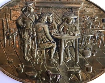 Vintage Brass Wall Plate of Dutch Old Maters Scene