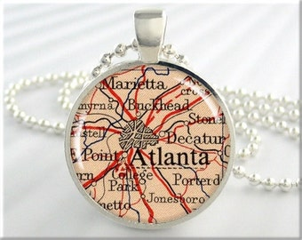 Atlanta Map Pendant, Resin Charm, Atlanta Georgia Map Necklace, Picture Jewelry, Round Soilver, Gift Under 20, Map Charm (567RS)