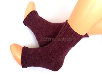 Cherry Red Hand Kitted Yoga Socks with Heel Flip Flop Socks Knitted Socks Summer Socks Dance Socks Pilates Socks Pedicure Socks Feet Warmers