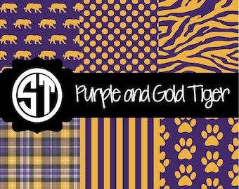 Purple and Gold Tiger Spirit Patterns  indoor, outdoor, glitter and metallic VINYL heat transfer vinyl HTV ans applique FABRIC