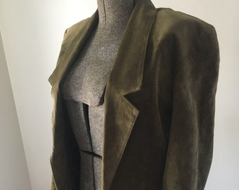 90s vintage brown green blazer/ leather/ suede/ Bloomingdale's/ size S
