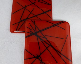 Red Fused Glass Coasters with Black Detailing - set of 2