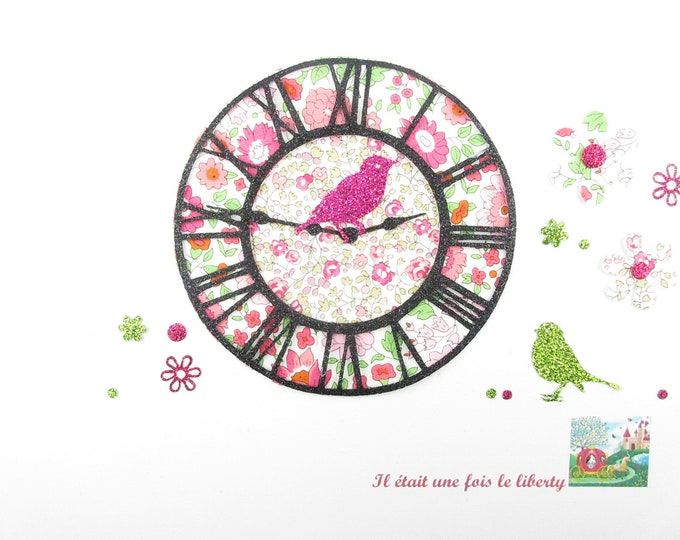 Applied seconds clock Dial Watch time XL fabric liberty Eloise & pink flex Anjo glitter patch iron on applique liberty