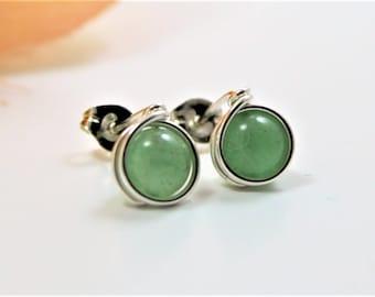 Aventurine Sterling Silver Stud Earrings - Green Stone Post Earrings - Handmade by Adonia Jewelry