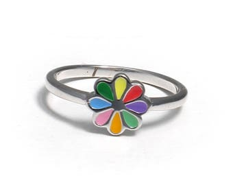 Children's Ring of 925 sterling silver with colourful flowers
