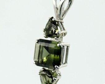 Faceted Moldavite Pendant (Czech Republic, #9395) 2.1 grams