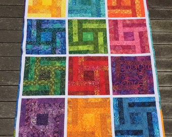 Modern Rainbow Art Quilt Batik Log Cabin Quilt Handmade Large Throw Quilt