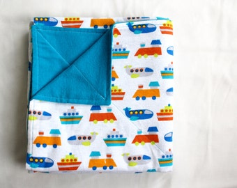 Reversible Cotton Flannel Baby Blanket with Boats, Trains, and Planes