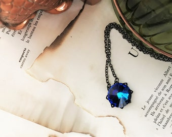 Bermuda Blue Rivoli Gunmetal Necklace