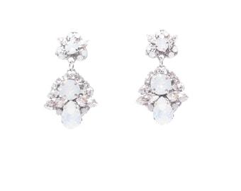 Crystal Bridal Earrings, Drop Wedding Earrings ,Swarovski Crystal Earrings , Vintage Wedding Jewelry, White Opal Crystal Earrings