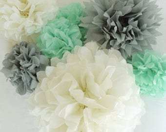 Mint, Grey, & White Paper Tissue Pom Poms, Neutral Baby Shower Decor, Birthday Party, Cake Smash Prop, Mint Gray Wedding