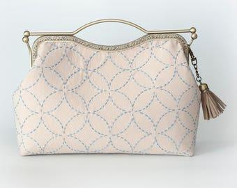 10.7'' Clutch Bag, Handbag, Kisslock -Beige