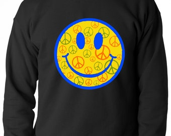 Smiley Face Peace Signs All Over Adult Mens Crewneck Sweatshirt #1078