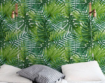 PALM LEAVES removable wallpaper, Large laves wall mural, Greenery wall decal, Tropical wallpaper, Exotic leaves wall decal, 278