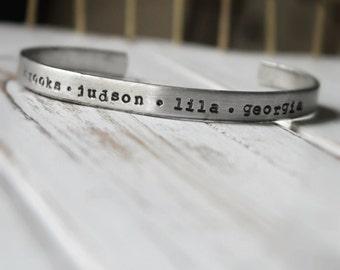 Sale. SALE Hand Stamped Cuff Bracelet. Silver Aluminum. Personalized