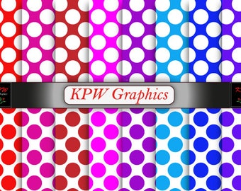 Bright Rainbow Polka Dots Digital Printable Scrapbook Papers, Pink, Red, Purple, Spots, Dots, Personal & Small Commercial use (0001)