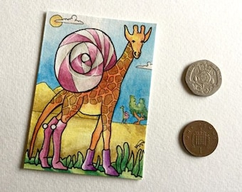 Alien giraffe socks snail Desert wall art miniature art ATC Gift Art Trading Card Whimsical Original ART ACEO Watercolor - Katie Hone