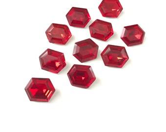 8 Vintage Ruby Glass Hexagon Rhinestones 13mm x 10mm
