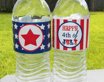 50% OFF SALE - July Fourth Water Labels Printable - 4th of July -Stars and Stripes Collection Collection