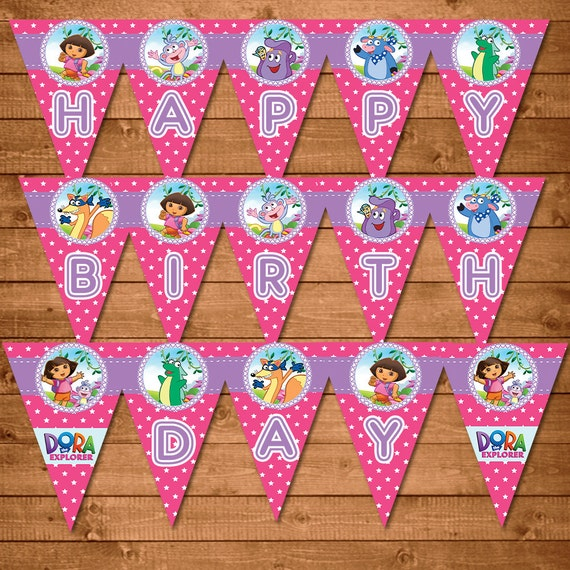 Dora The Explorer Printable Banner Pink Dora Birthday Party