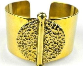 Medallion Brass Cuff Bracelet